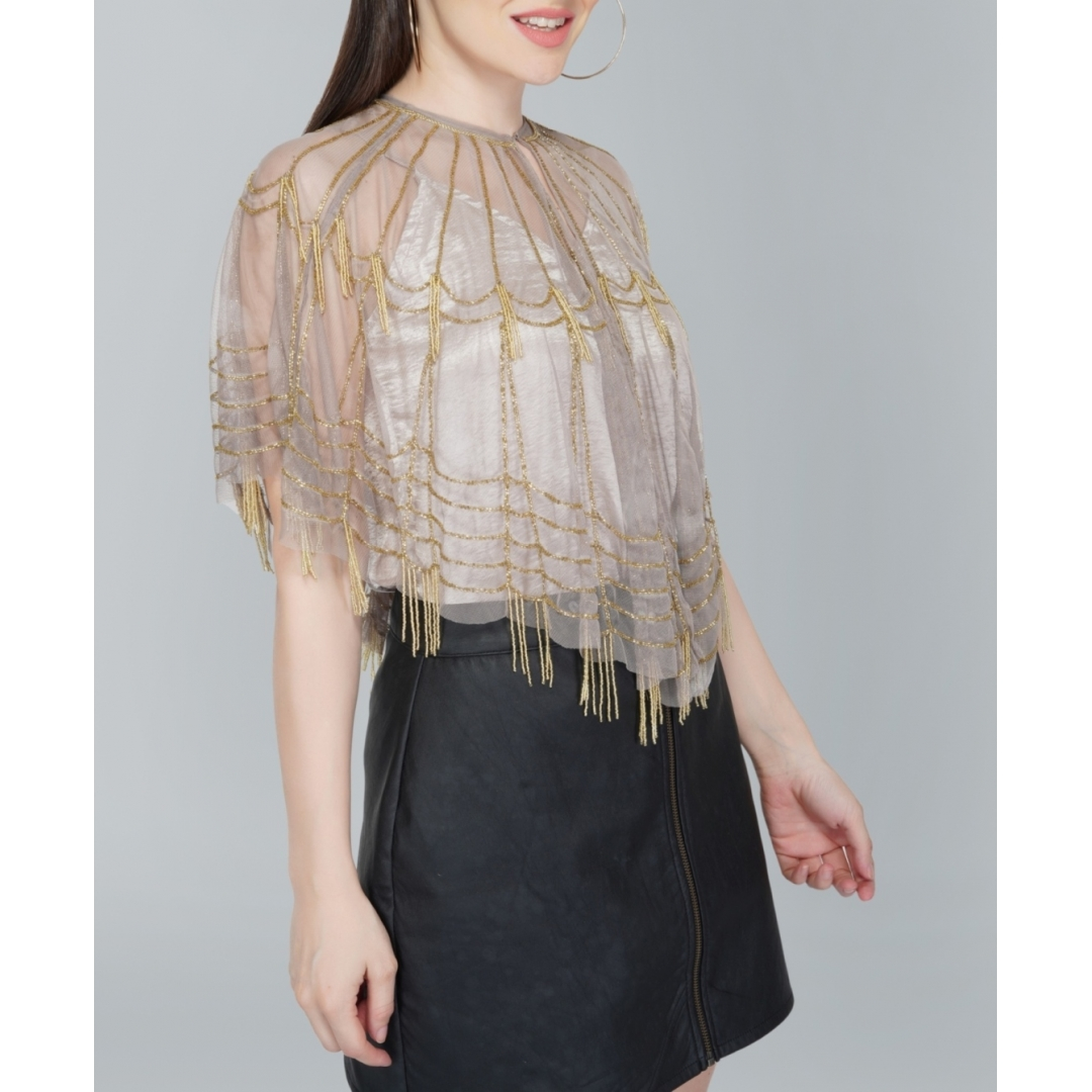 Beaded Beige Tulle Shrug