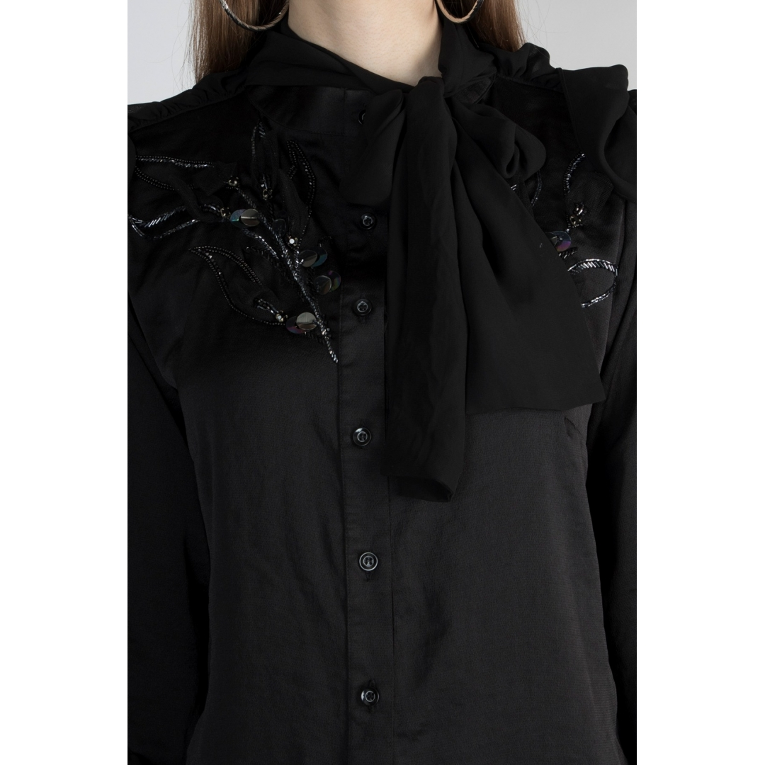 Frill Shirt With Tie Up Neck