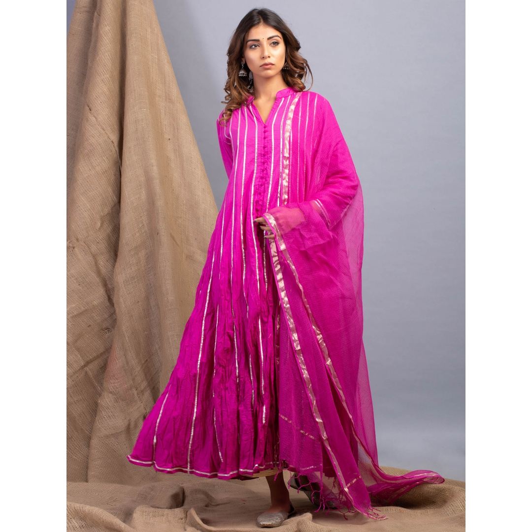 Aubergine Ombre Kalidaar And Dupatta Set