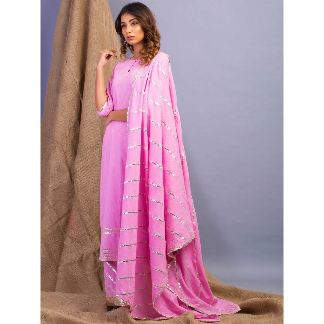 Lehriya Pink Lehar Gota Work Kurta Dupatta And Farshi Set