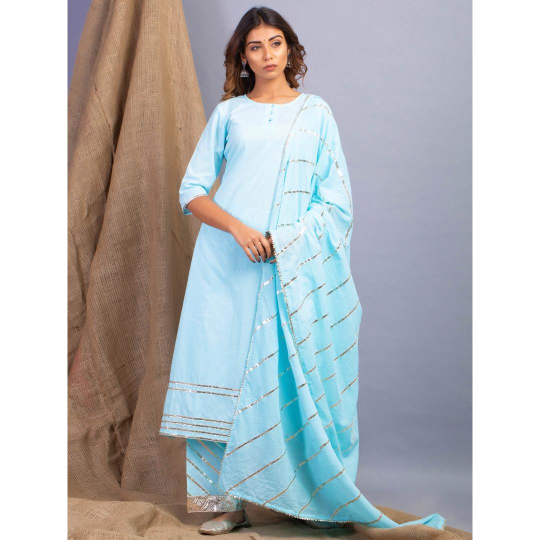 Lehriya Turquoise Blue Lehar Gota Work Kurta Dupatta And Farshi Set