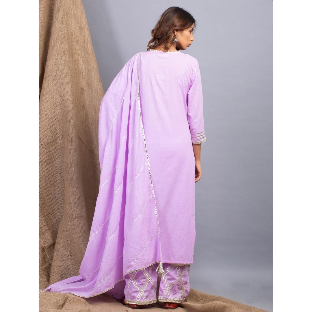 Padamja Lavender Dhari Gota Work Kurta Dupatta And Pants Set