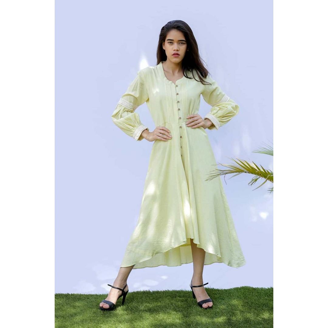 Lemon Cotton Linen Dress