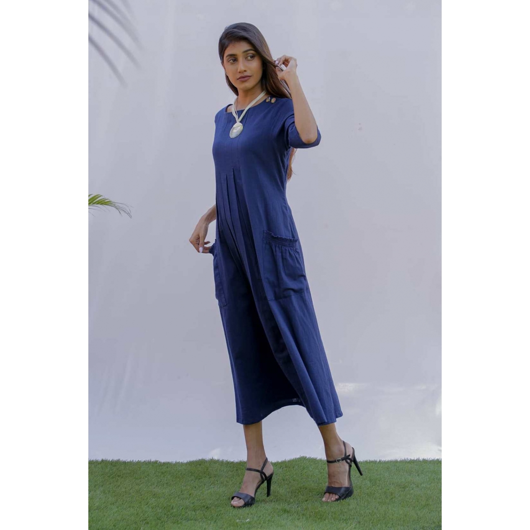 Blue Cotton Slub A line Dress