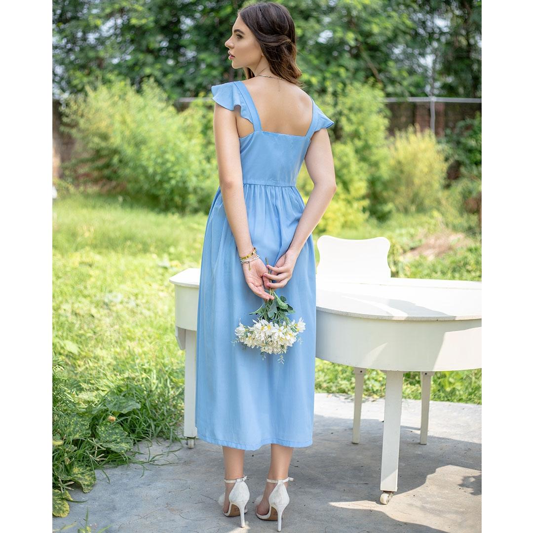 Powder Blue embroidered  Poet Midi Dress
