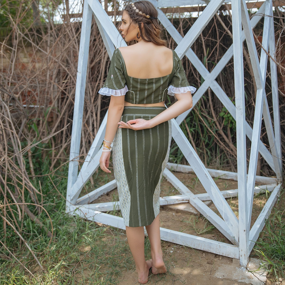 Olive Moss Crepe crop top & Pencil skirt