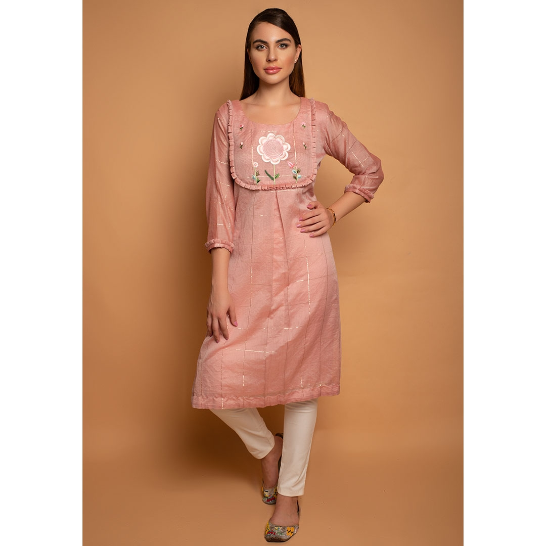 Blush Chanderri check kurta