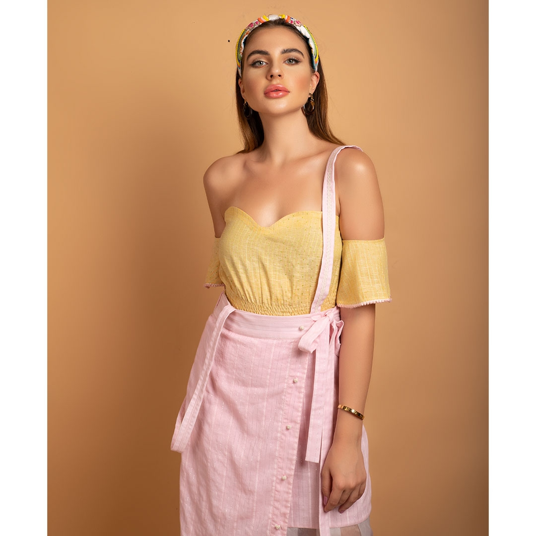 Bright Yellow handloom off shoulder top