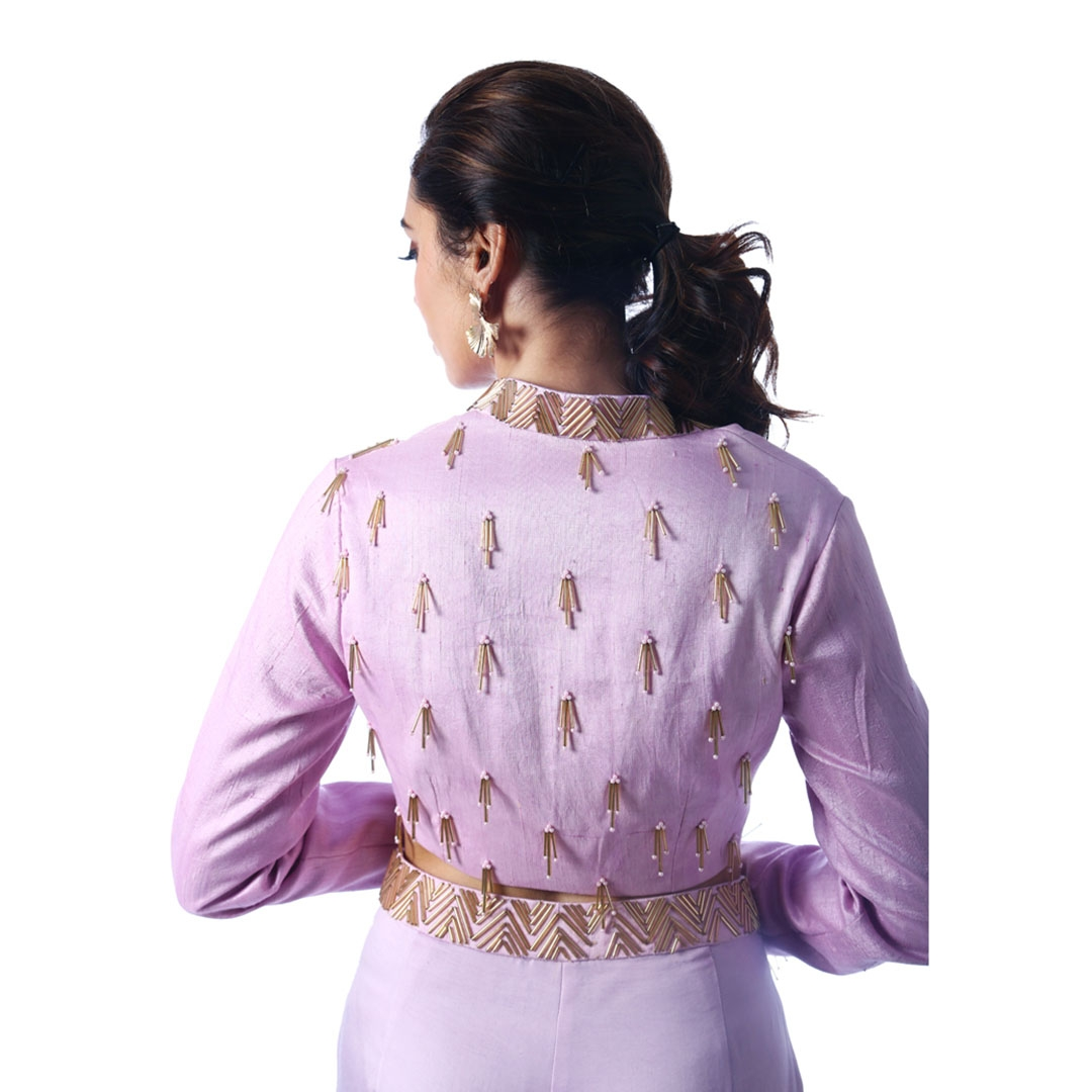 Pastel Purple Matka Neck Blouse With Wide pants1