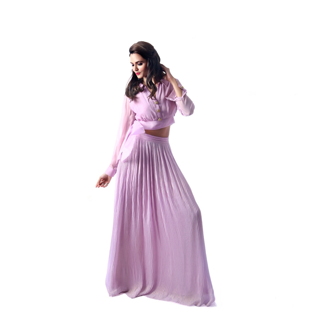 Shirt with Side Bow and Pleated Skirt
