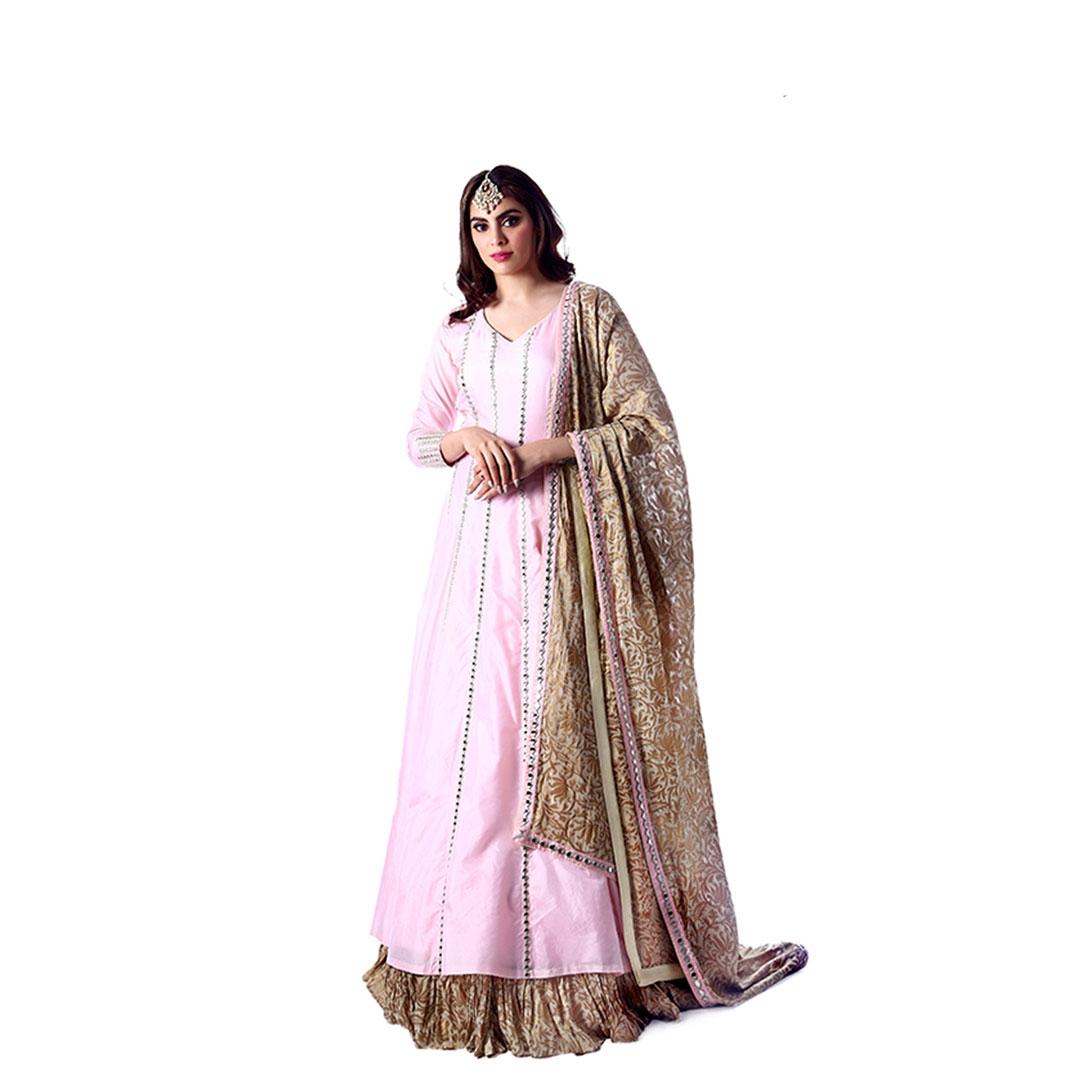 Pink Mirror Work Anarkali Suit and Brocade Dupatta