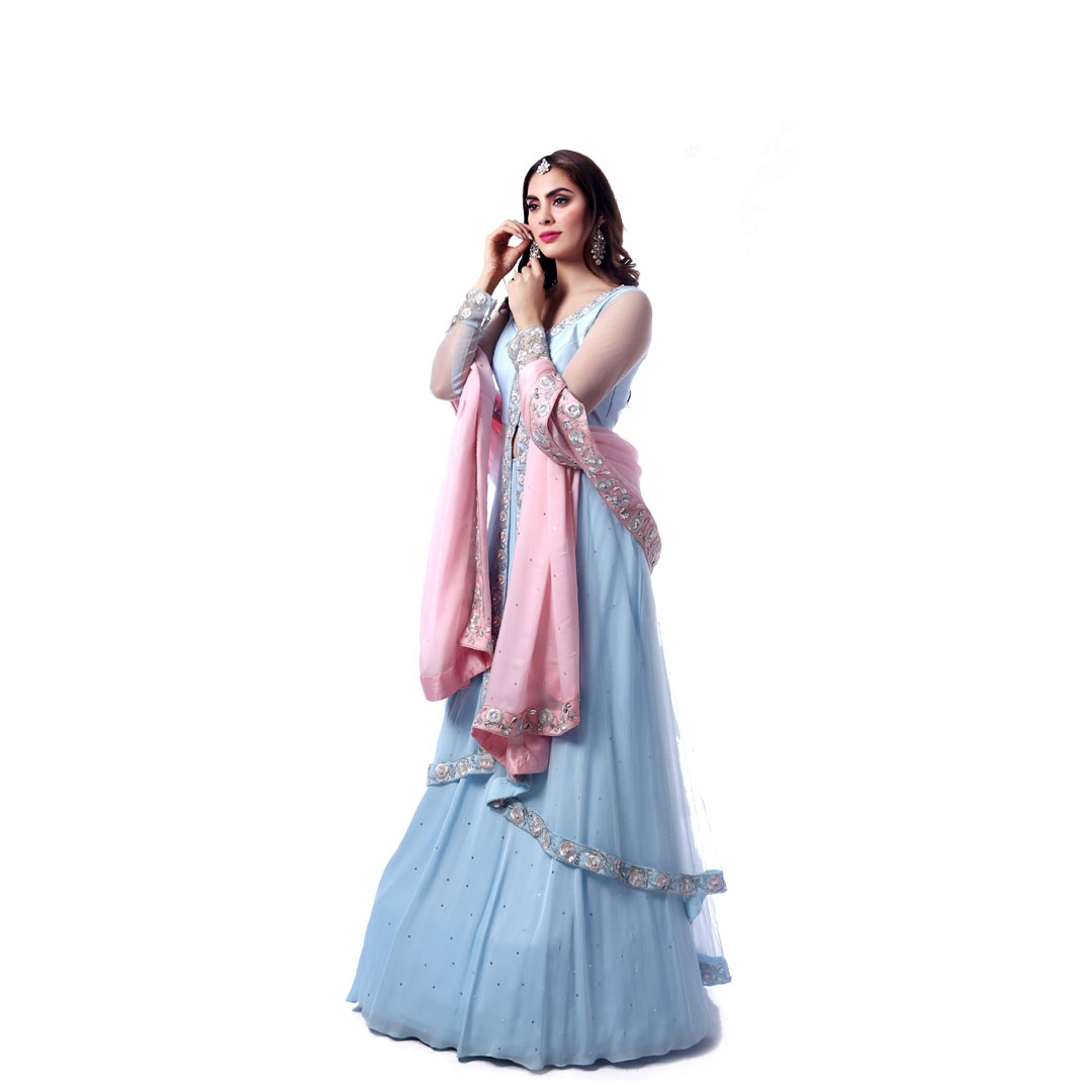 Blue Silver Work Sharara Suit