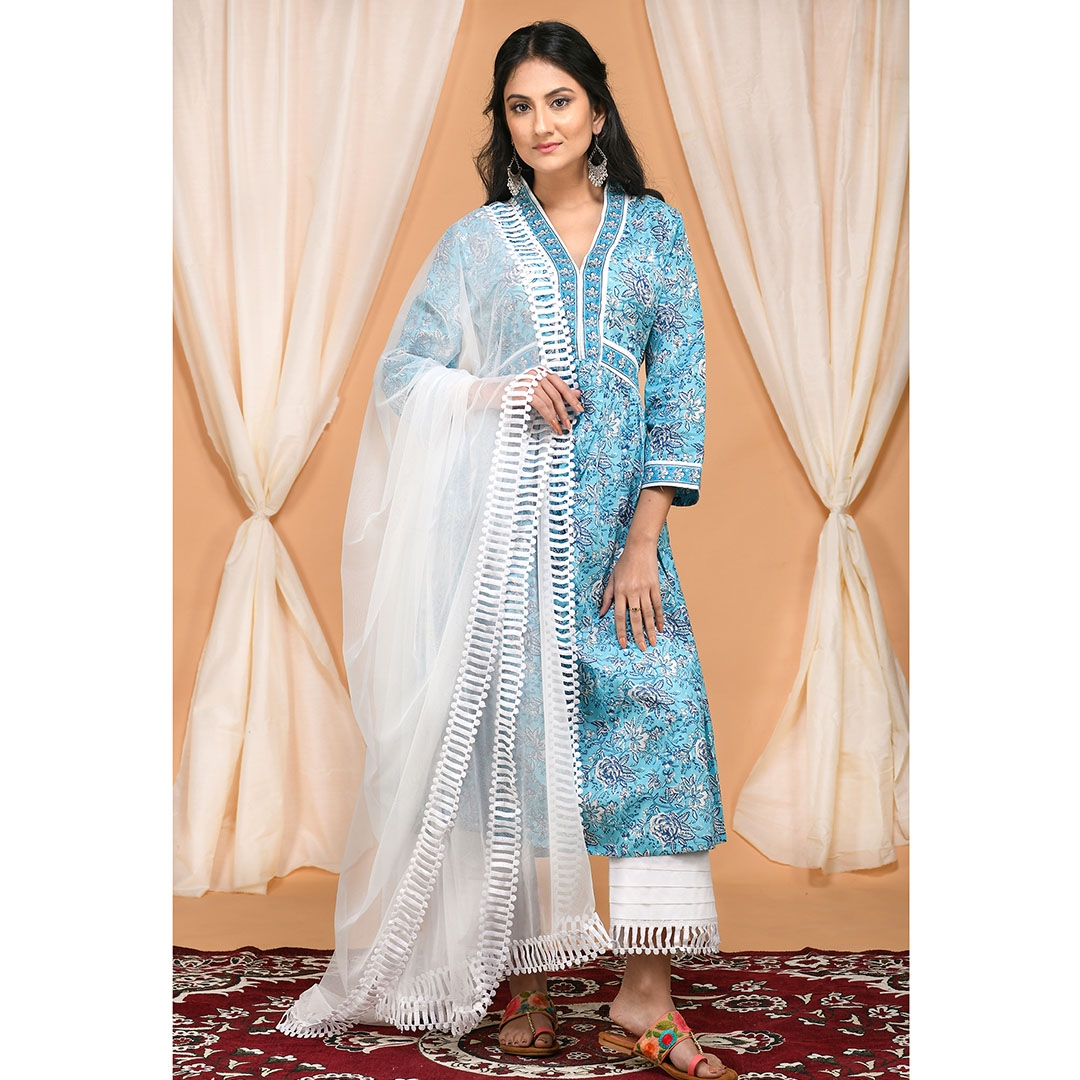 Floral Blue Kurta Set with Pleated Lace Pants and white Lace Dupatta