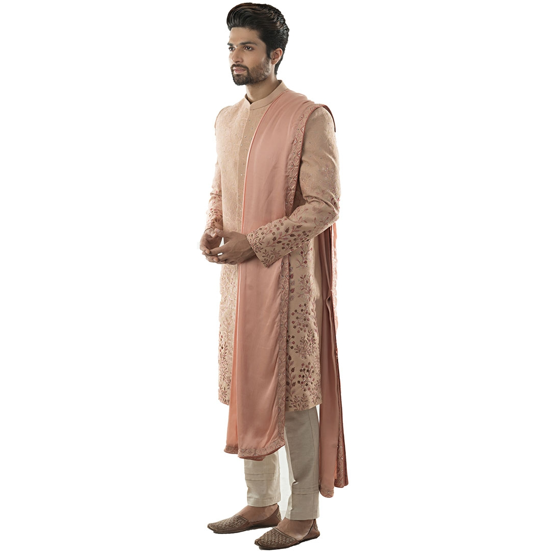 Light Mauve Sherwani with Shaded Jaal Embroidery using Silk Threads. Paired with A Dupatta and Cream