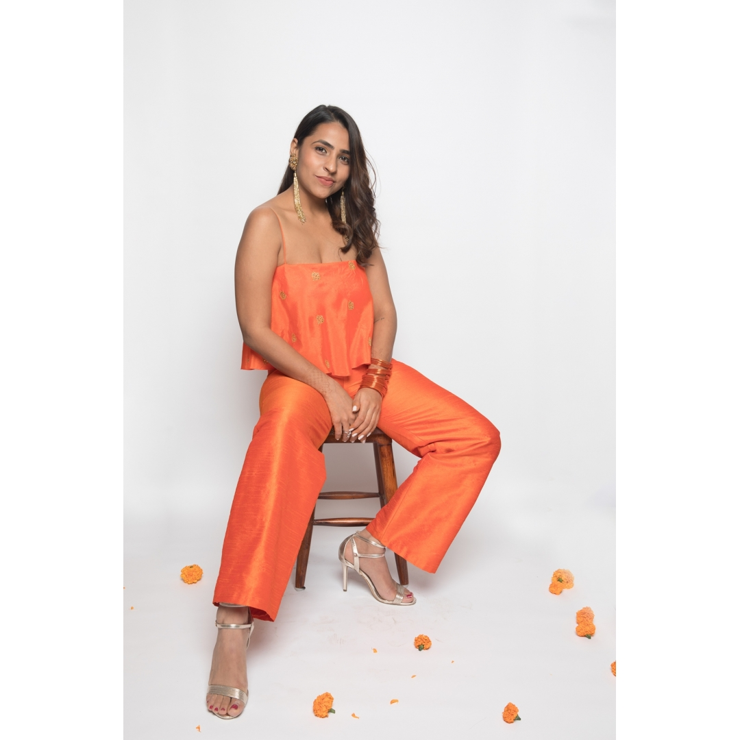 Orange silk embroidered crop top & pant