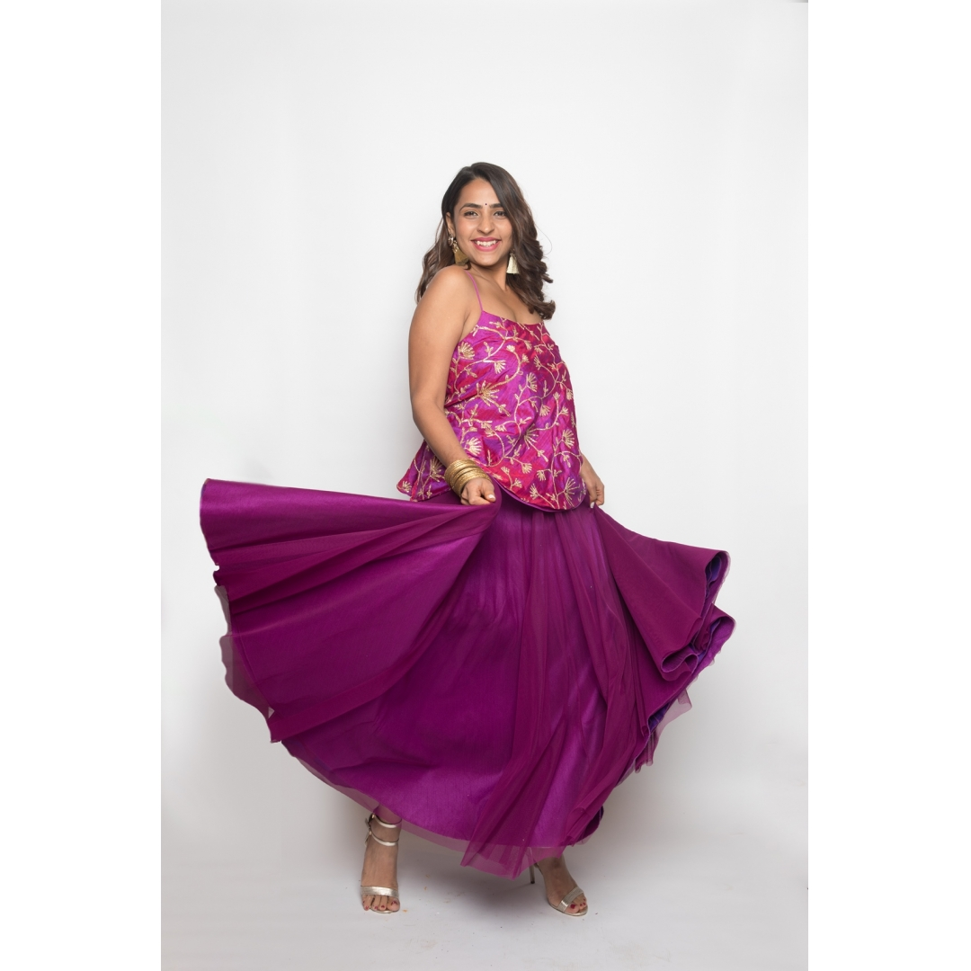 Violet skirt and top