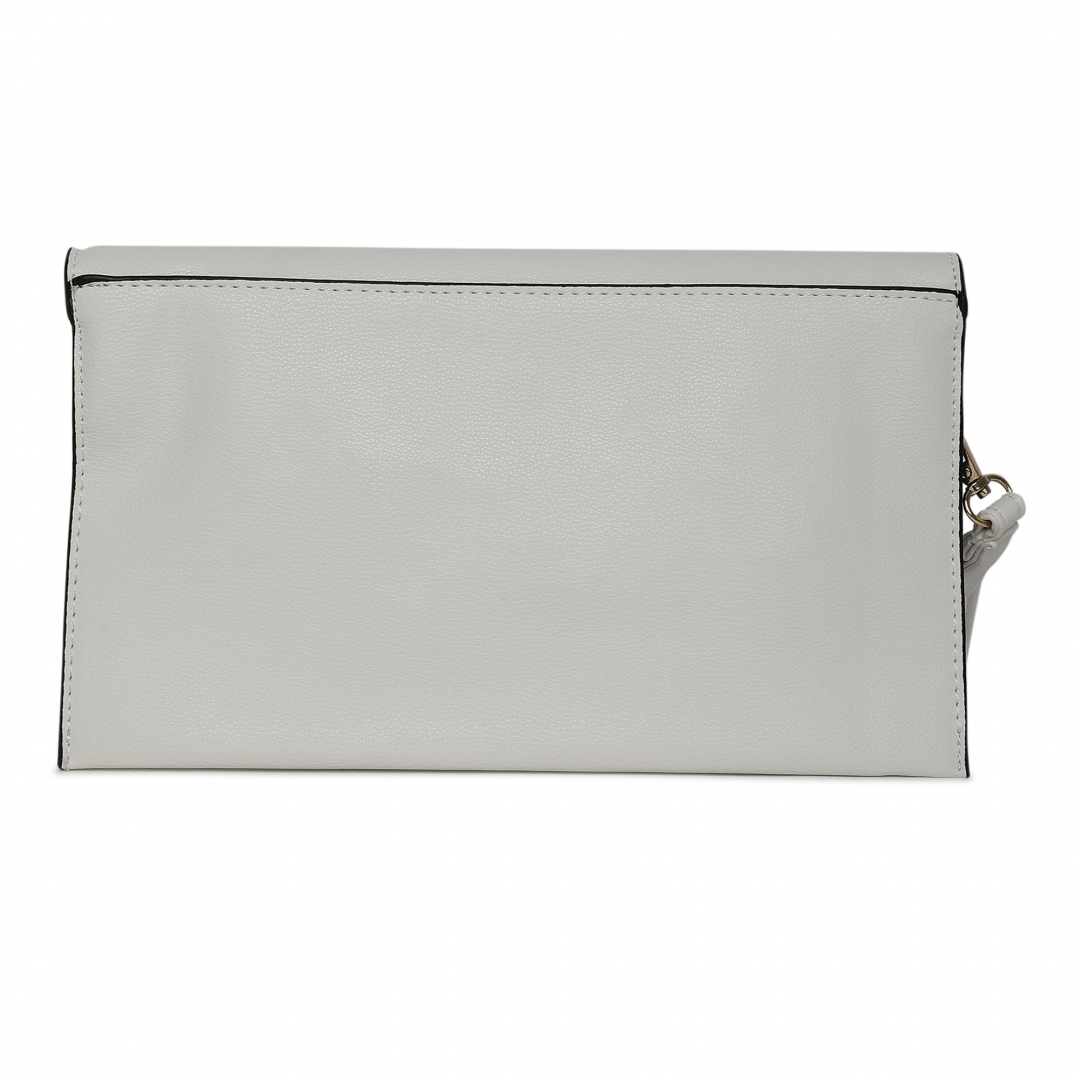 Gold Chain White Side Sling & Clutch
