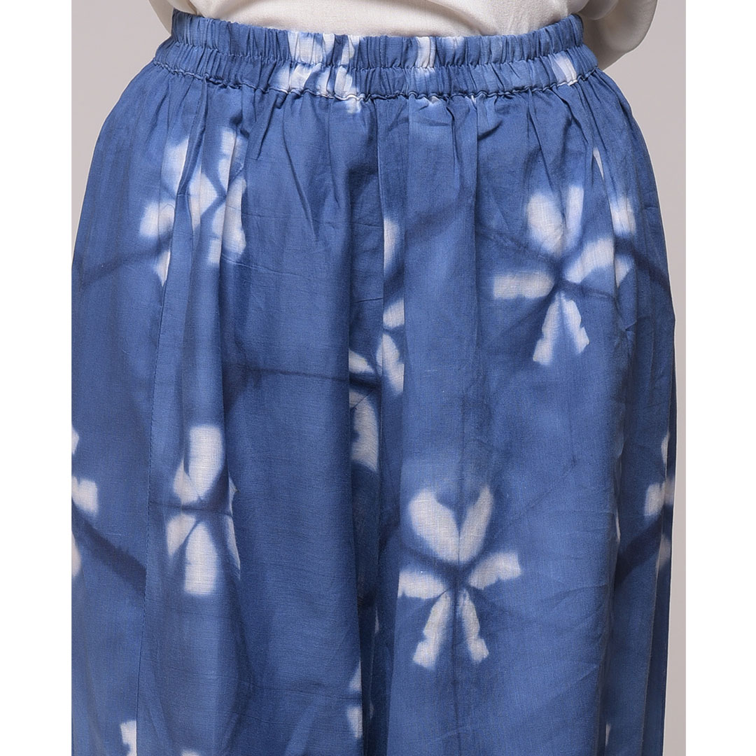 CLAMP DYED BLUE FLORAL ELASTICATED  HAREM PANT