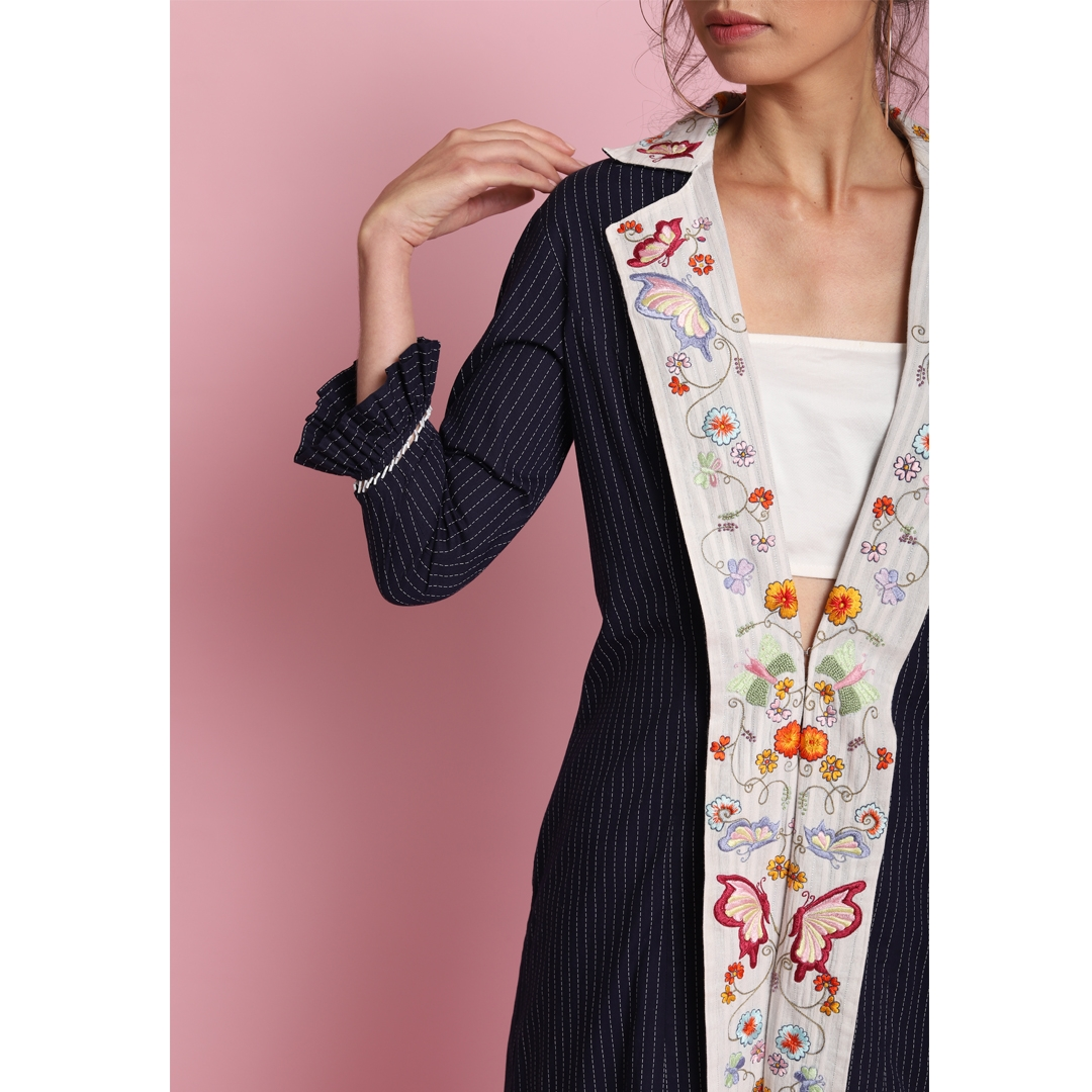 Printed oxford blue embroidered collar Jacket