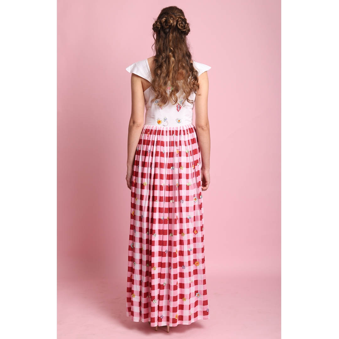 Red checks embroidered gather long dress