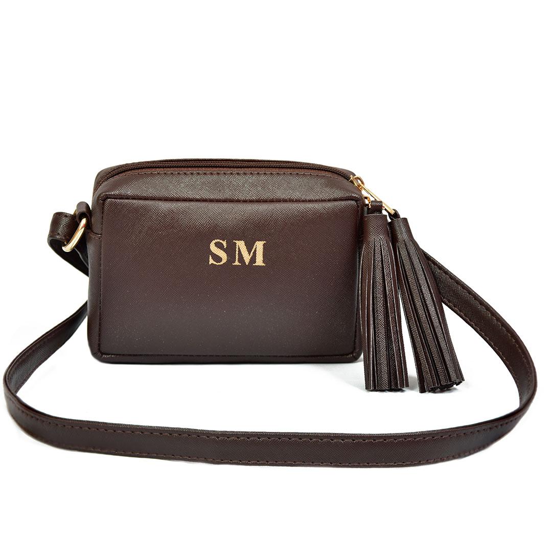 Monogram fringe sling -brown