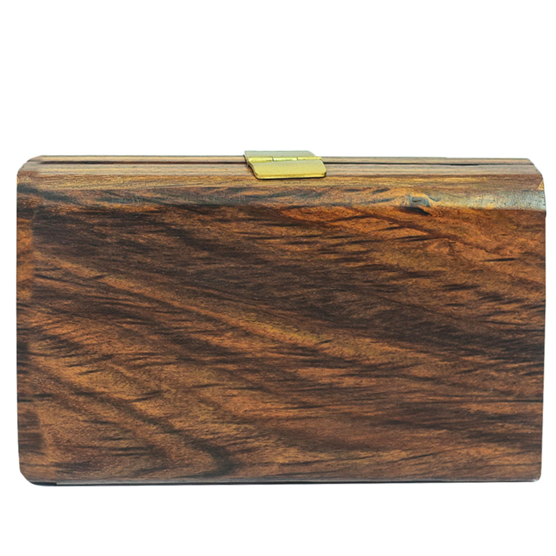 Handpaintedfloral wooden clutch with a flap