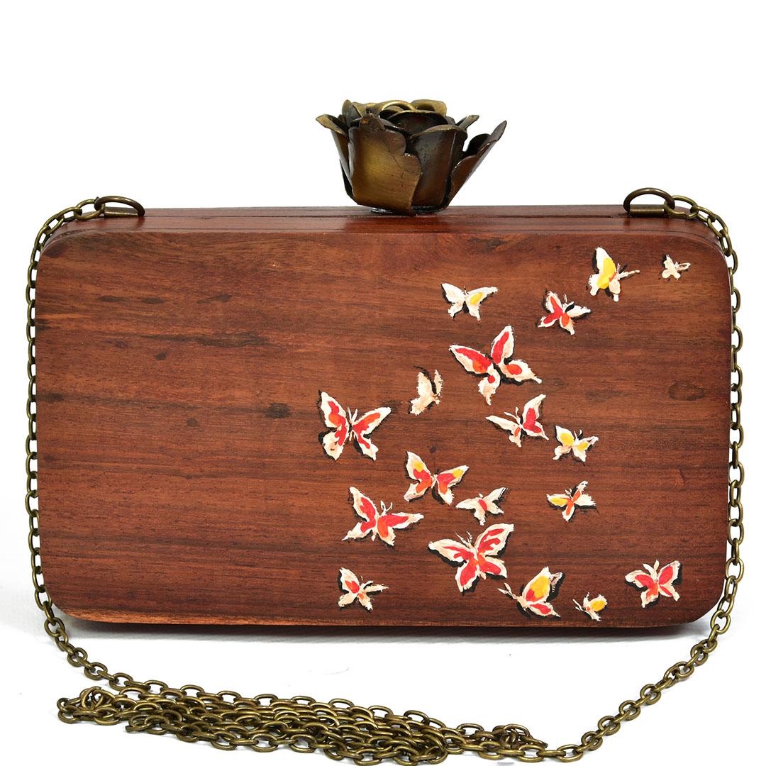 Handpainted wooden clutch