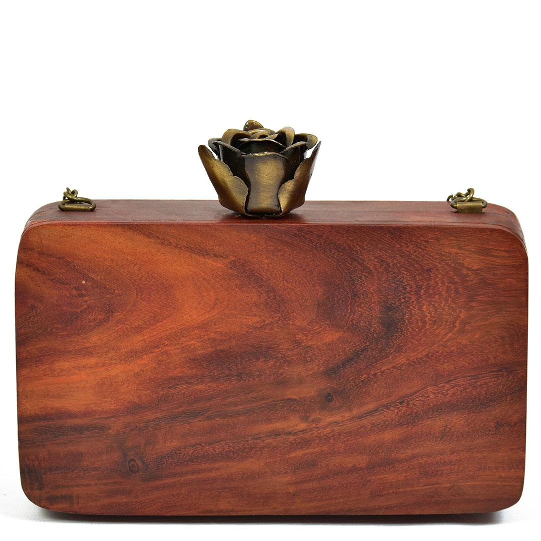 Handpaintedfloral wooden clutch