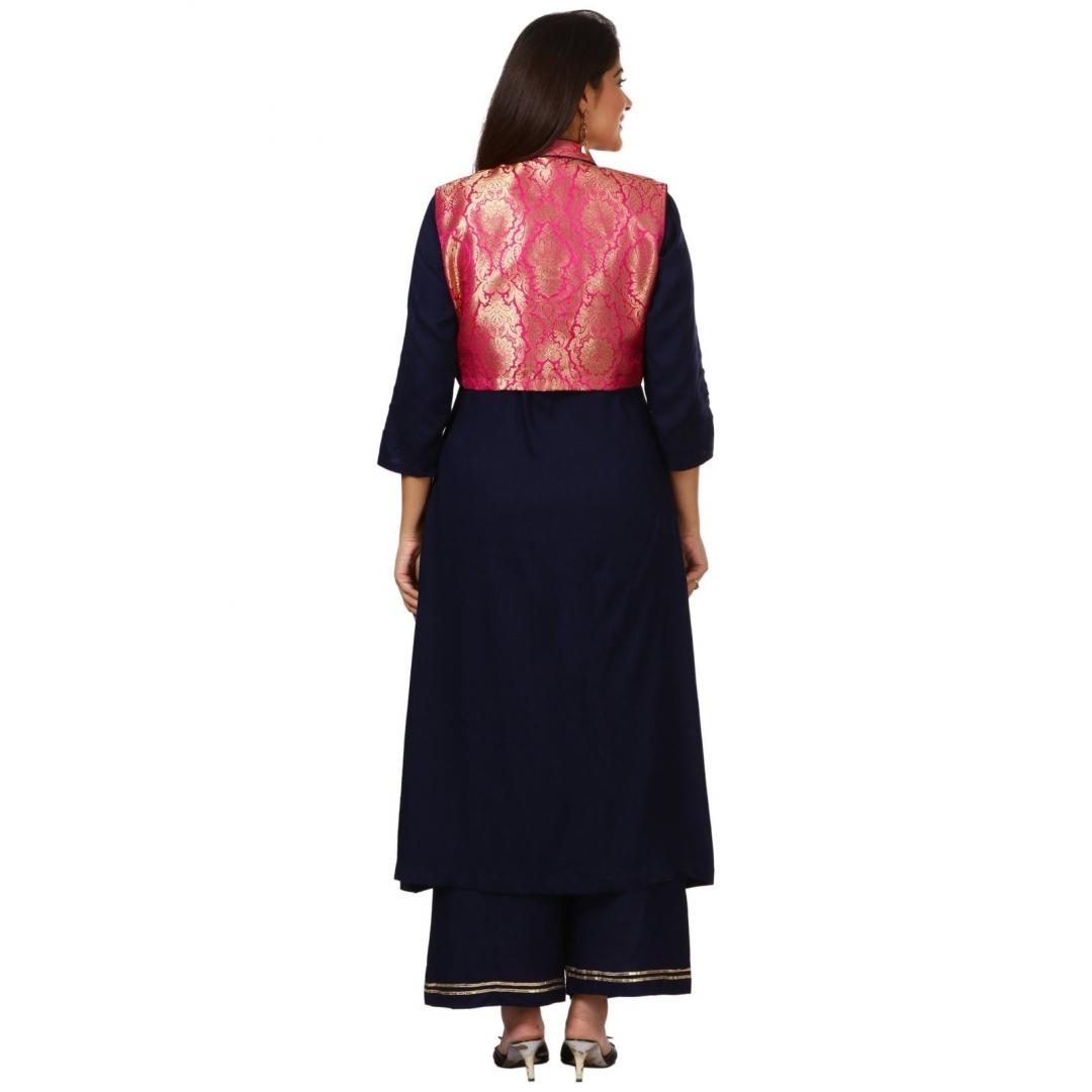 Blue Rayon Front Slit Kurti with Pink Jacket and Straight Palazzo