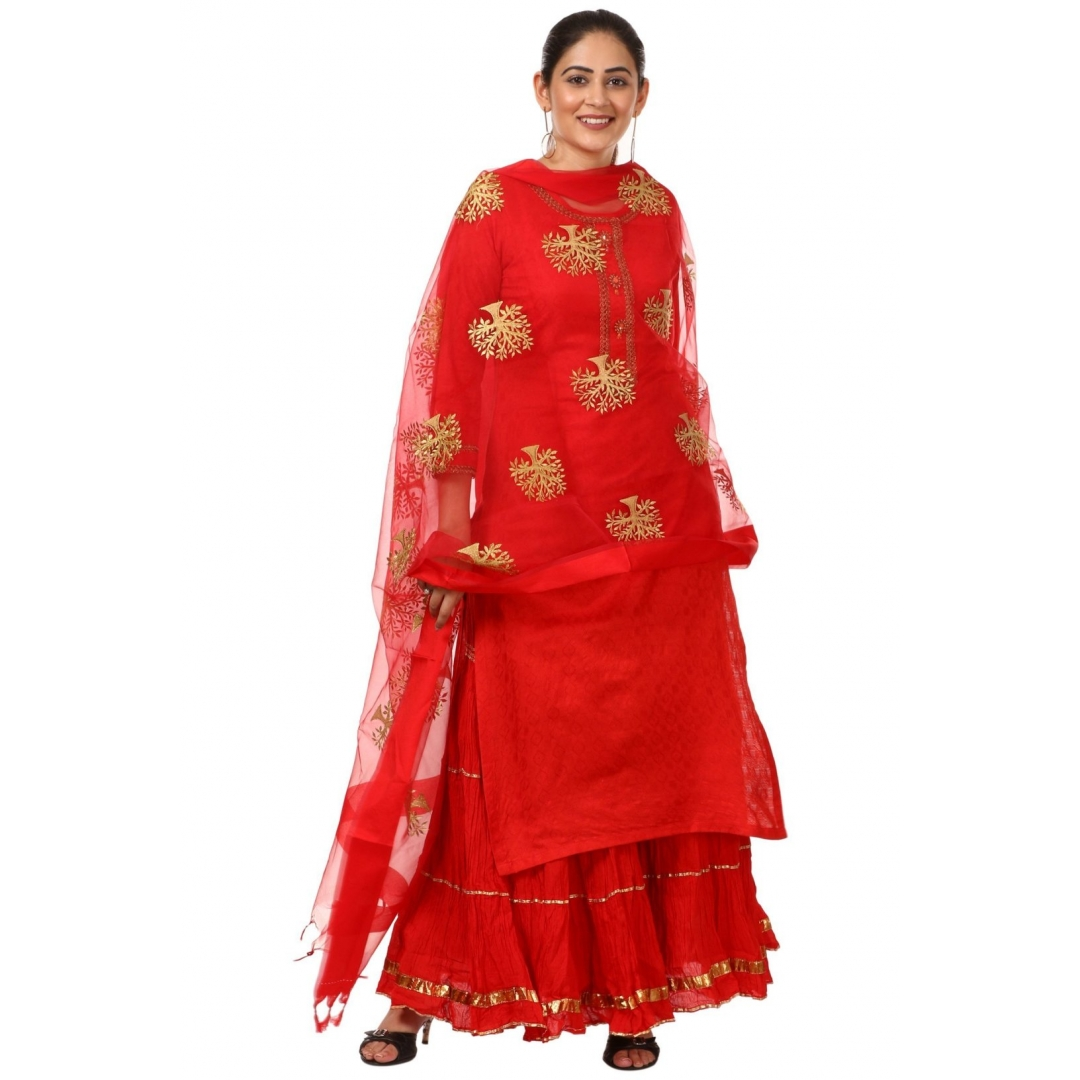 4566b4c001 Buy Red Gotta Kurti with Gathered Sharara and Thread Embroidered Dupatta  Online at Best Price in India | GetNatty