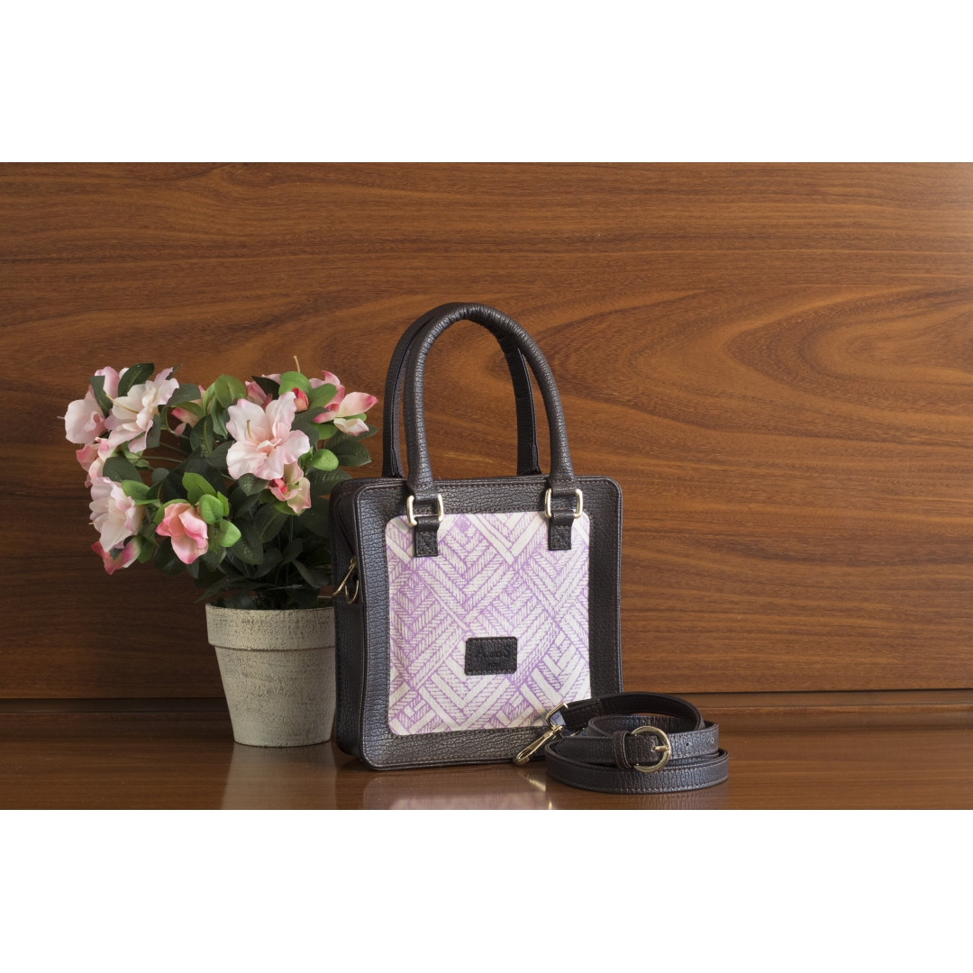 Square Canvas Satchel - Blackcurrant