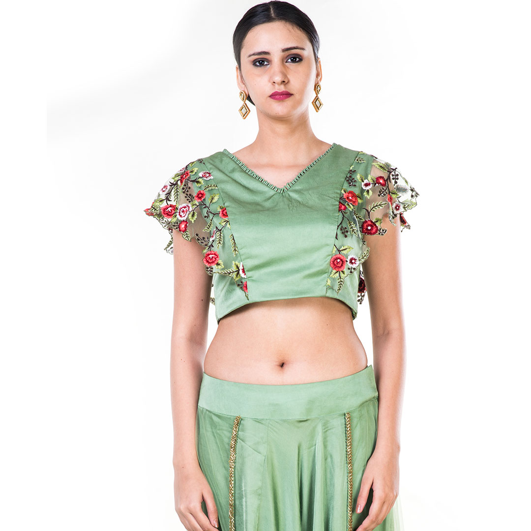 Green Floral Embroidered Crop Top & Dhoti Set with A Trail