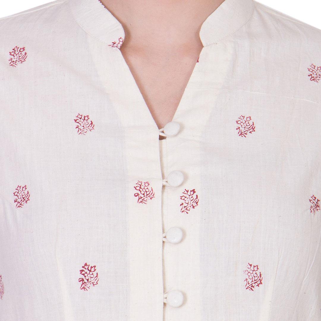Off White Muslin Block Printed Maxi Dress