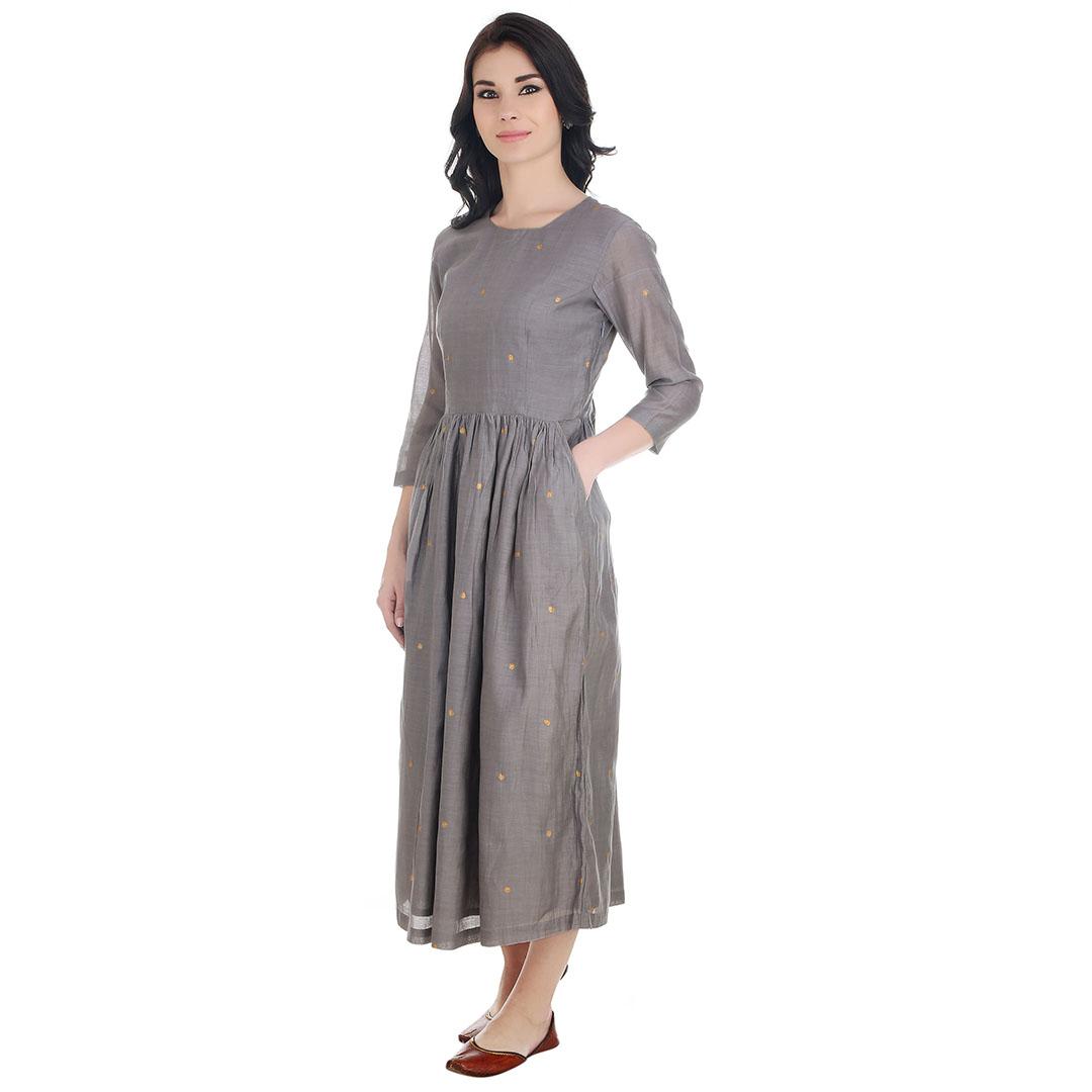 Grey Gathered Chanderi Dress