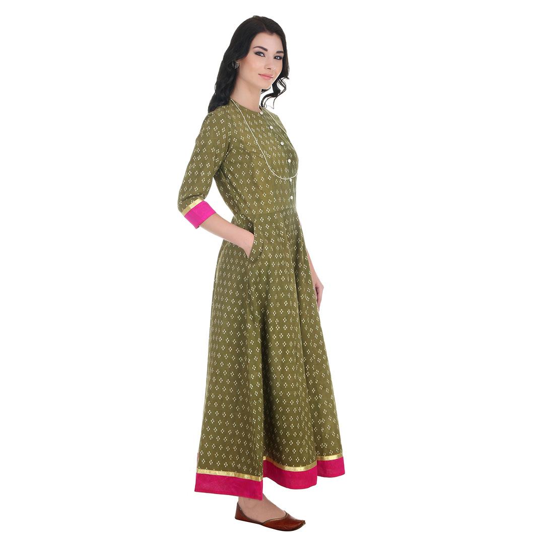 Olive Bagru Print Maxi Dress