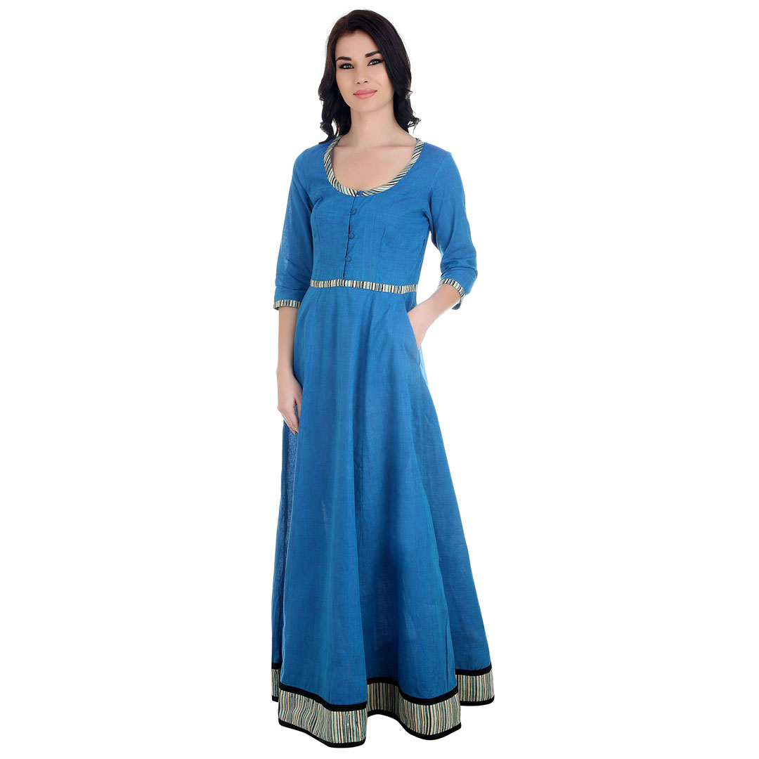 Cotton Blue Maxi Dress