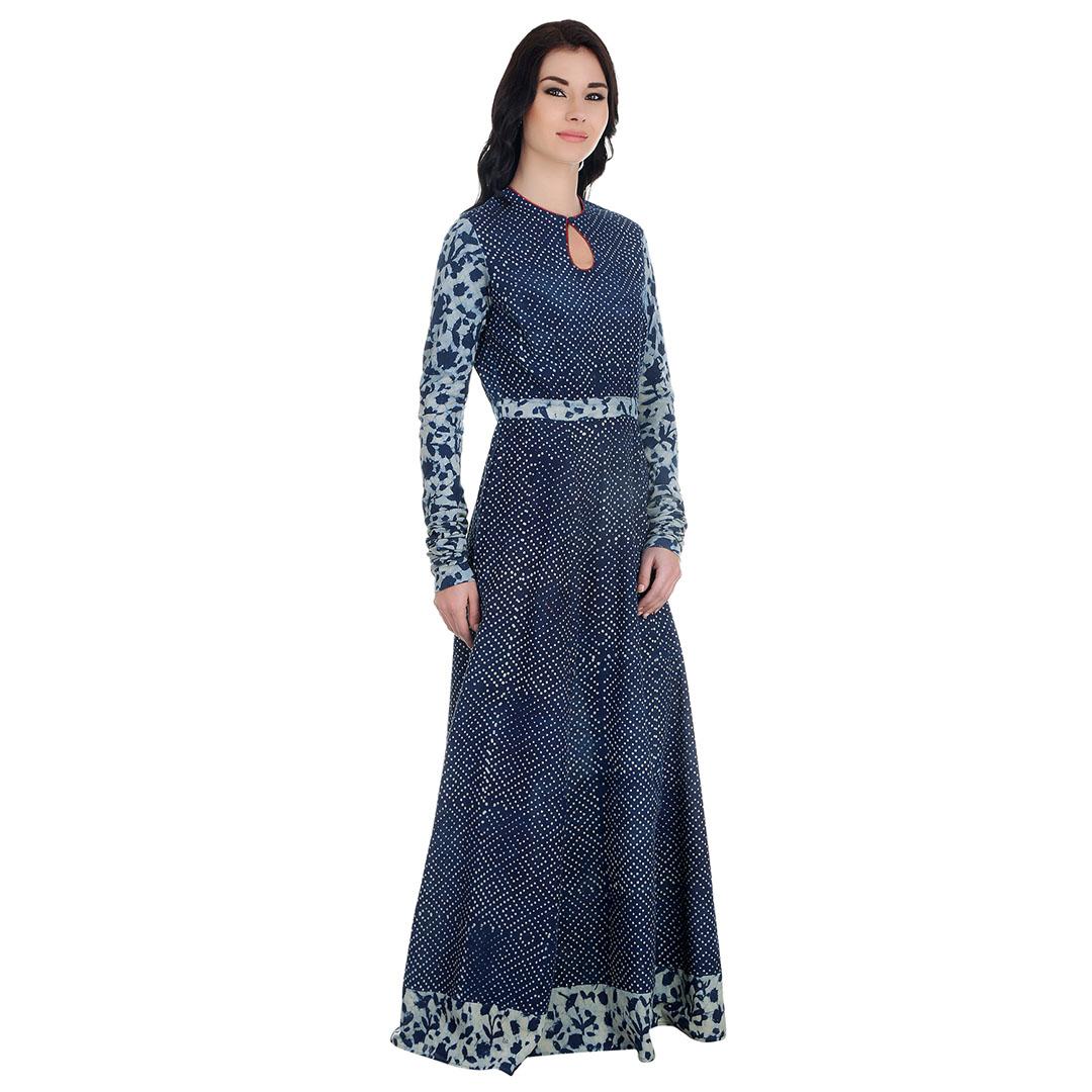 Indigo Block Printed Maxi Dress