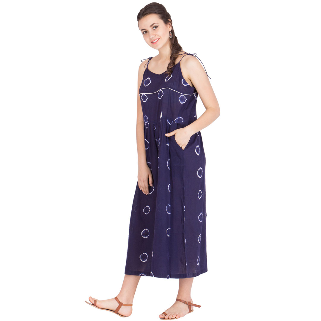 Tye And Dye Jumpsuit With Wide Legs Made In Sheer Cotton Muslin