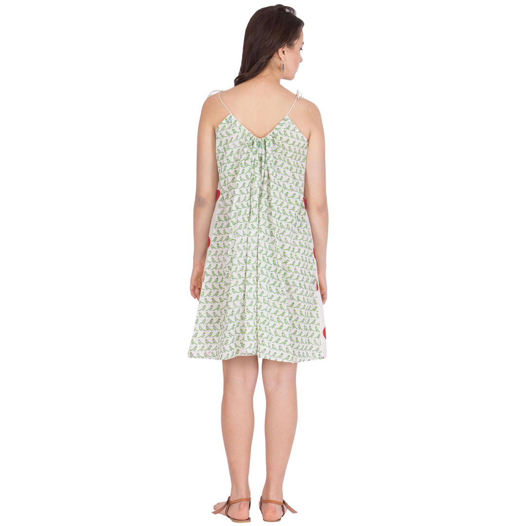 Resort Dress With Block Printed Polka Dots On Very Thin Cotton Muslin