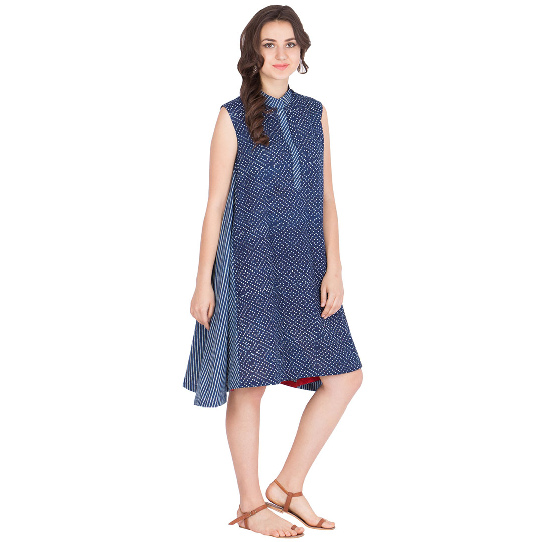 Block Printed Dress With Bias Cut Side Pannels
