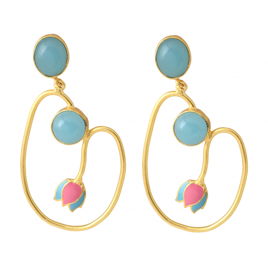 Belsis pink enamel earrings