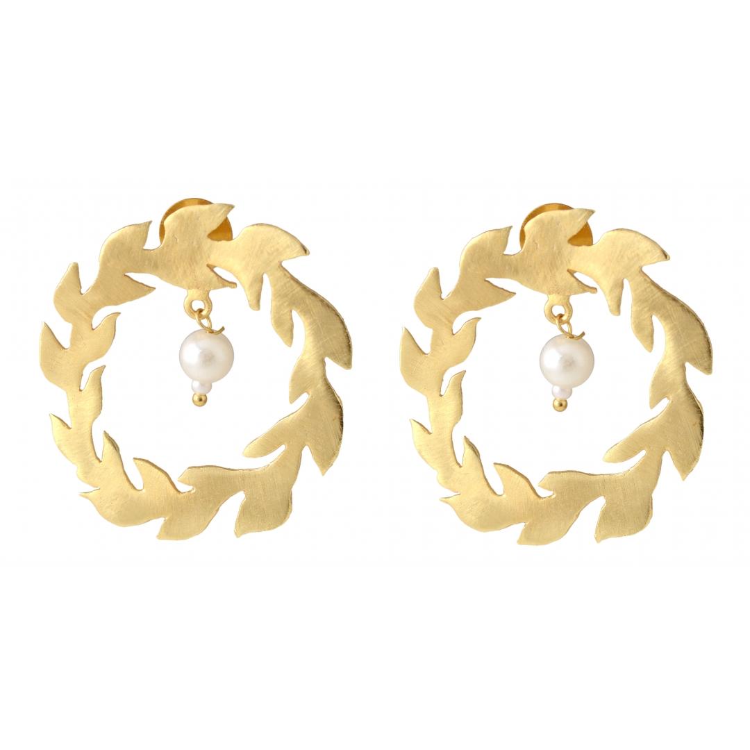 Belsis swirl metal leaf earrings