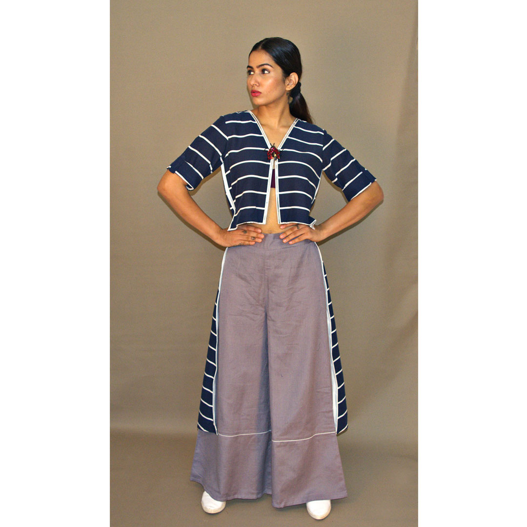 BLUE STRIPE HIGH/LOW TUNIC WITH GREEY COTTON LINEN PANTS
