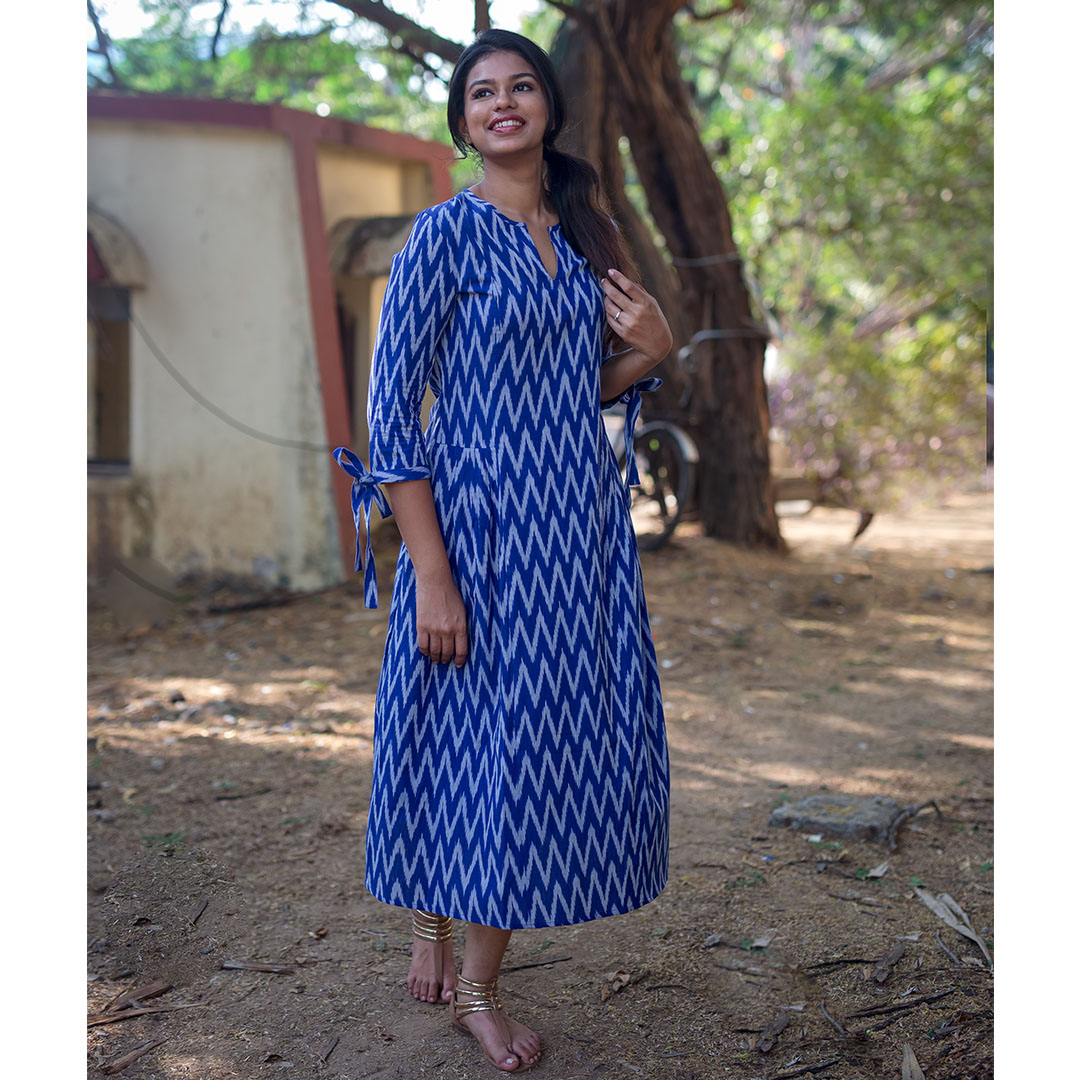 Blue Ikat Pleat Dress.1.jpg