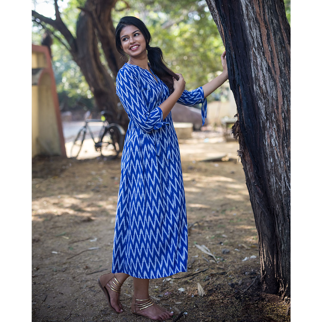 Blue Ikat Pleat Dress