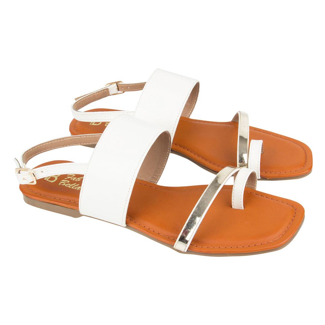 White Gold Flat Sandal