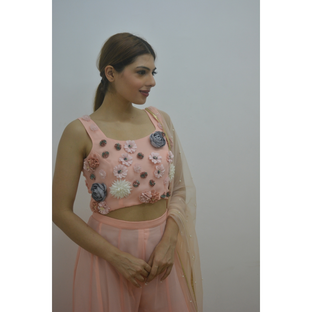 Blush 3D Flower Crop-Top With Kaliwala Pallazo Worn With Pear Net Dupatta