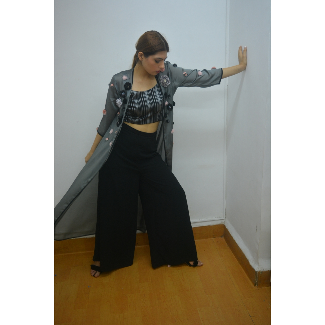 Black Grey Stripe Croptop With Black Pallazo And Grey Silk Crepe 3D Flower Jacket