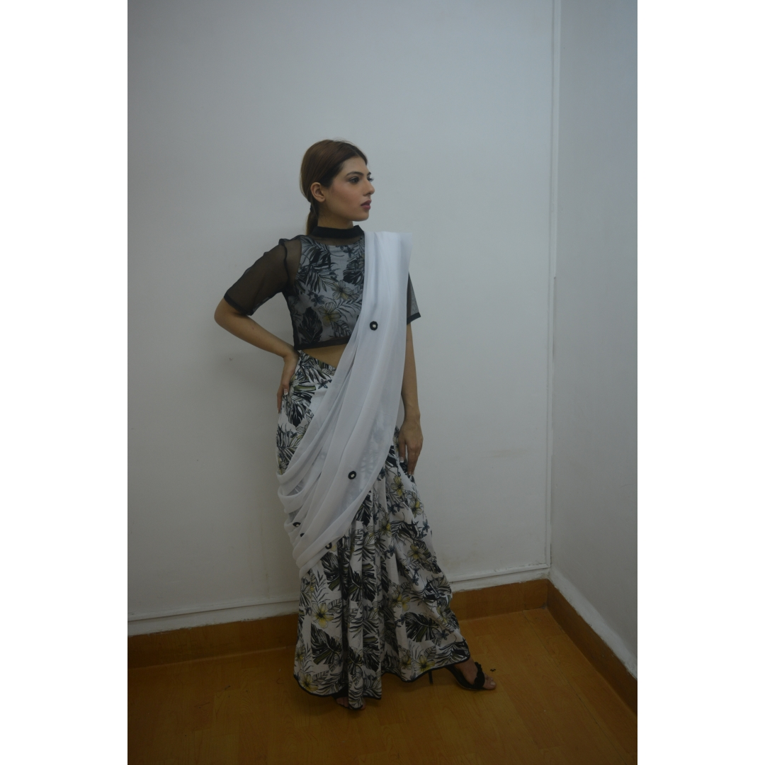 Black Organza Crop-Top With Printed Cotton Linen & Embroidered Pallu Skirt Saree And Choli