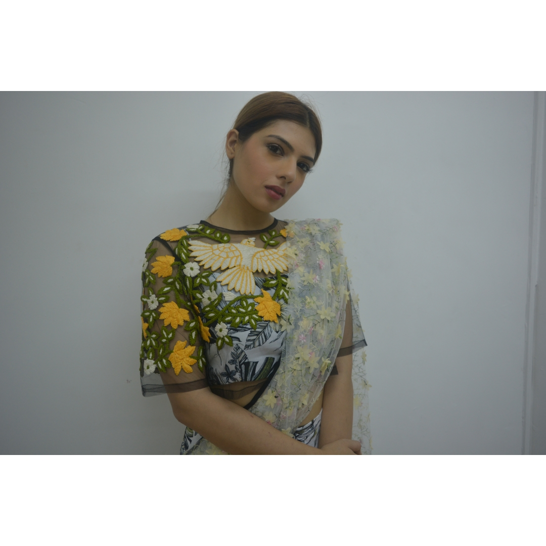 BLACK NET EMBROIDERER CROPTOP WITH PRINTED CHOLI AND SKIRT SAREE